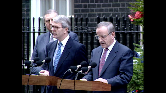 exterior shots of prime minister john major and taoiseach albert reynolds speaking at a downing street declaration announcing the anglo irish... - john major stock-videos und b-roll-filmmaterial