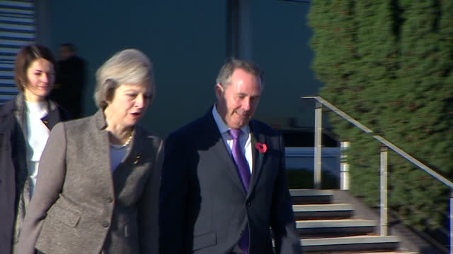 exterior shots of prime minister theresa may boarding a raf plane with liam fox mp and a large trade delegation bound for a trade trip to india on... - liam fox politician stock videos and b-roll footage