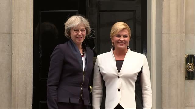 Exterior shots of Prime Minister Theresa May greeting Croatian President Kolinda GrabarKitarovic outside Number 10 Downing Street>> on October 11...