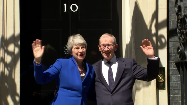 exterior shots of prime minister theresa may leaving 10 downing street for the last time as prime minister of the united kingdom alongside her... - leaving stock videos & royalty-free footage