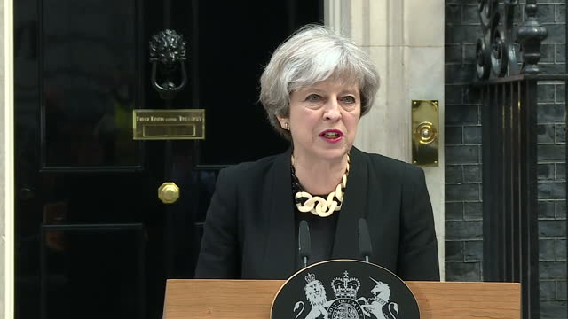 Exterior shots of Prime Minister Theresa May making a statement outside Number 10 Downing Street after chairing a meeting of the COBRA emergency...