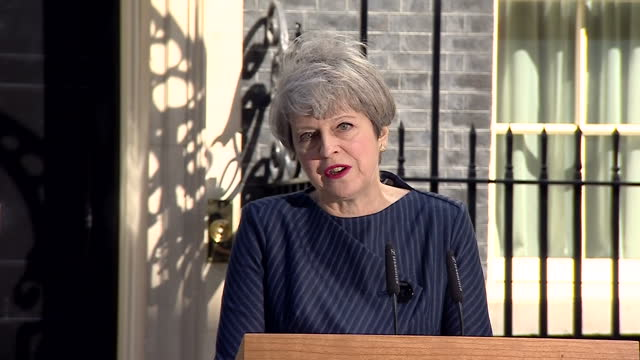 Exterior shots of Prime Minister Theresa May speaking outside Number 10 Downing Street about her decision to call a snap general election saying 'So...