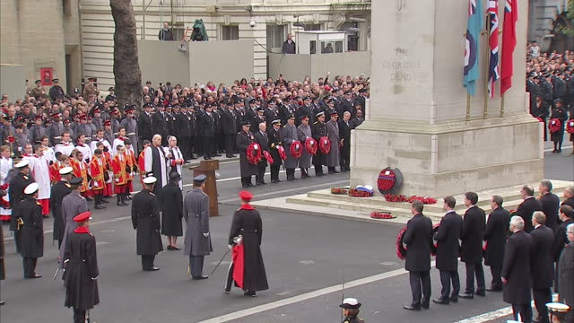 exterior shots of prince andrew and prince edward laying wreaths at the cenotaph during remembrance day commemorations on november 09 2014 in london... - remembrance day stock videos and b-roll footage