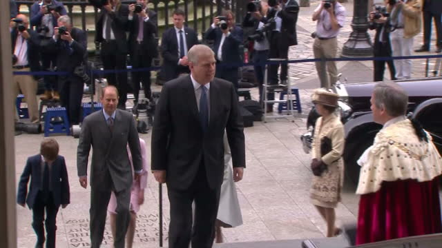 exterior shots of prince andrew duke of york princess beatrice and princess eugenie sophie countess of wessex prince edward earl of wessex james... - lady louise windsor stock videos and b-roll footage