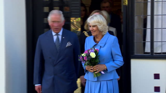 exterior shots of prince charles and camilla being greeted by and greeting the public at the opening of the rennie macintosh style tea rooms on 7... - camilla duchess of cornwall stock videos and b-roll footage