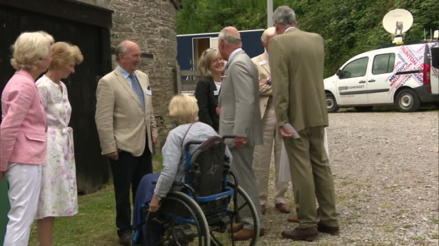 exterior shots of prince charles and camilla duchess of cornwall meeting people at a farm in exmoor to mark the 70th anniversary of the formation of... - exmoor national park stock videos & royalty-free footage