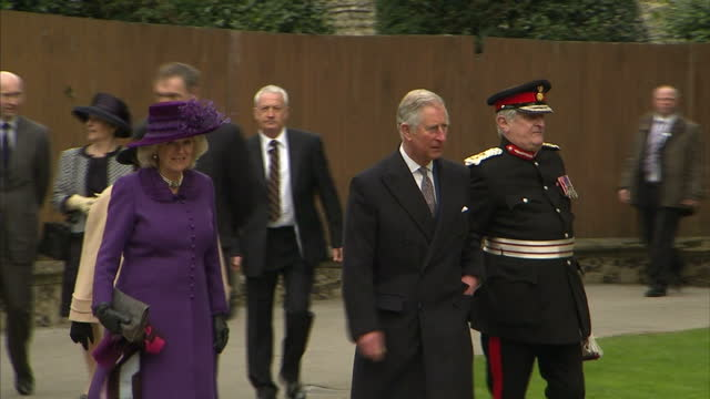exterior shots of prince charles and camilla duchess of cornwall arriving at canterbury cathedral and meet various priests before entering cathedral.... - canterbury cathedral stock videos & royalty-free footage