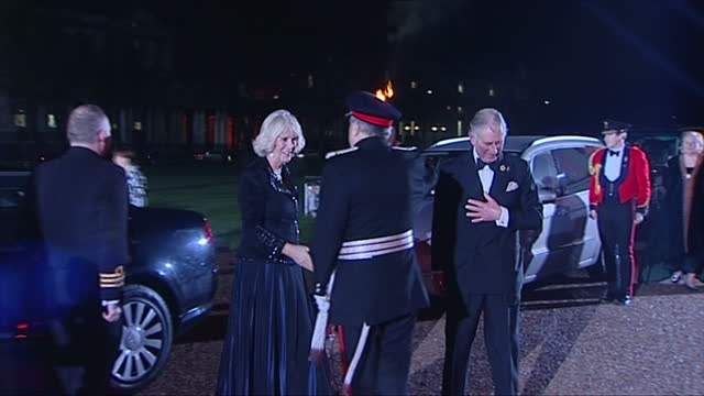 exterior shots of prince charles and camilla duchess of cornwall arriving at the sun military awards prince charles and camilla attend the sun... - 2013 stock videos & royalty-free footage