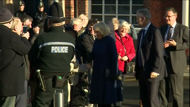 Exterior shots of Prince Charles and Camilla Duchess of Cornwall arriving at the Potteries Museum and Art Gallery and greeting officials and local...