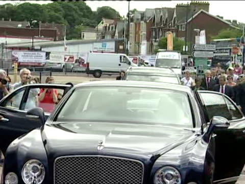 Exterior shots of Prince Charles and Camilla Duchess of Cornwall arriving in Chatham get out of Royal car and meet various people shaking hands with...