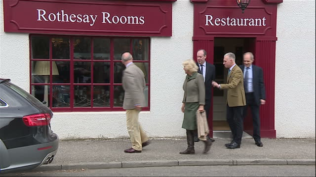 Exterior shots of Prince Charles and Camilla Duchess of Cornwall on a walkabout of Ballater high street and walk into a bookshop on 28 April 2017 in...