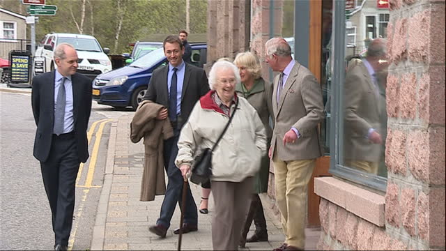 Exterior shots of Prince Charles and Camilla Duchess of Cornwall walking on a tour of Ballater on 28 April 2017 in Ballater United Kingdom