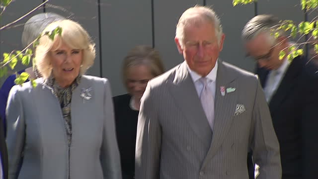 exterior shots of prince charles and camilla duchess of cornwall visiting the roof garden of the north west cancer centre at altnagelvin hospital on... - コーンウォール公爵夫人 カミラ点の映像素材/bロール