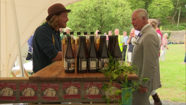 exterior shots of prince charles and camilla duchess of cornwall sampling local produce at a farm in exmoor to mark the 70th anniversary of the... - exmoor national park stock videos & royalty-free footage
