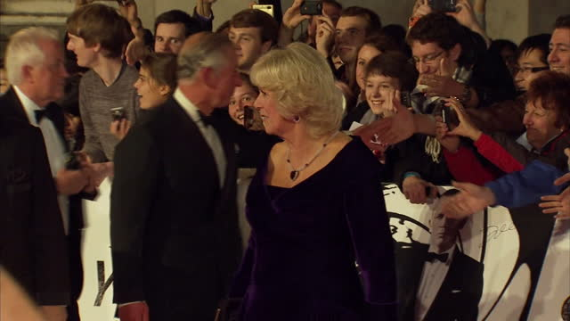 exterior shots of prince charles and camilla duchess of cornwall meeting fans and members of public on red carpet at skyfall premiere james bond... - skyfall 2012 film stock videos and b-roll footage