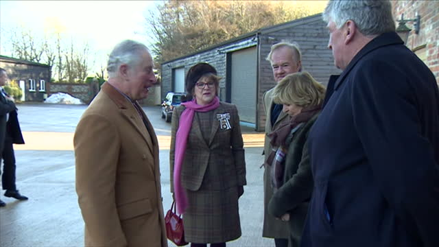 Exterior shots of Prince Charles arriving at Ramsbury Distillery and meeting Stefan Persson HM Chairman and owner of Ramsbury Estates on 15 December...