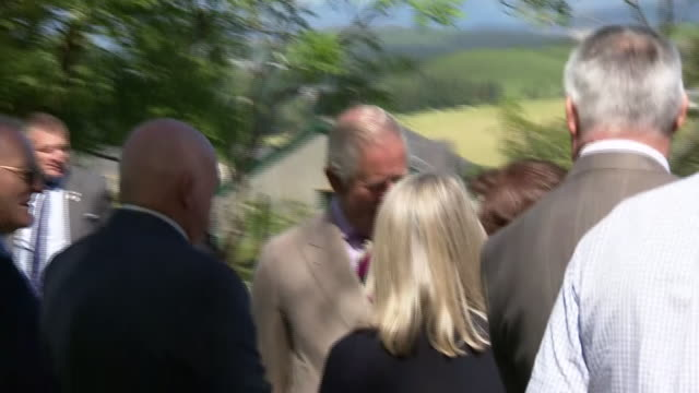exterior shots of prince charles arriving in trawsfynydd and meeting people on 5 july 2019 in trawsfynydd wales - gesellschaftsgeschichte stock-videos und b-roll-filmmaterial