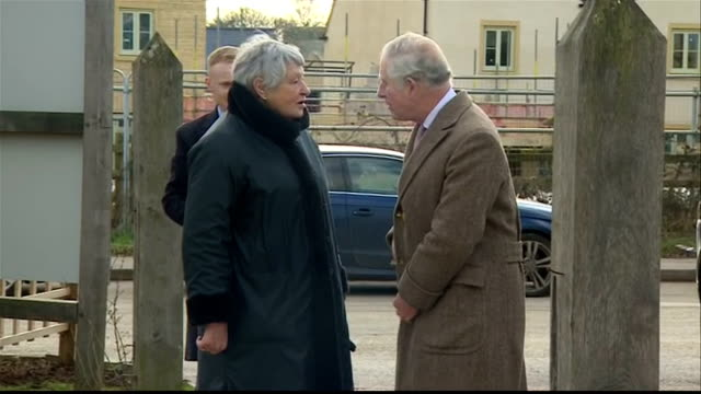Exterior shots of Prince Charles arriving to visit Timberpride in Tetbury and meeting cofounders Alec and Victoria Golesworthy and local officials...