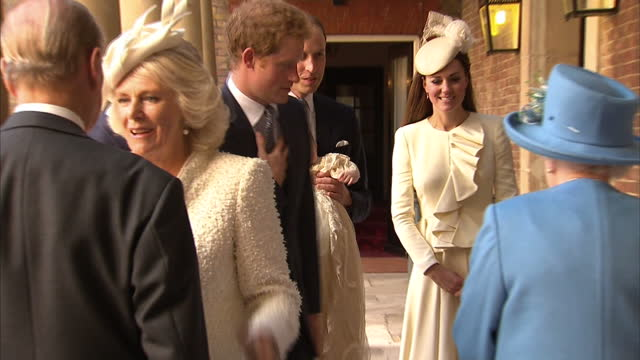 exterior shots of prince charles arriving with camilla duchess of cornwall followed by prince harry and then prince william and catherine duchess of... - baptism stock videos & royalty-free footage