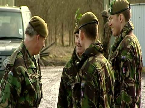 exterior shots of prince charles colonelinchief of the mercian regiment out of car and greeting small group of officers from the 3rd battalion before... - regiment stock videos & royalty-free footage