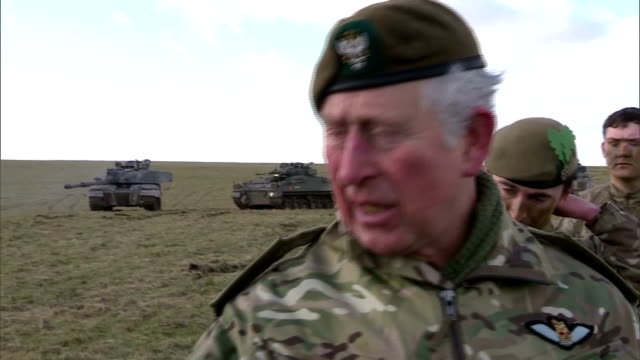 Exterior shots of Prince Charles ColonelinChief of the Mercian Regiment meeting soldiers taking part in an exercise on Salisbury Plain>> on February...