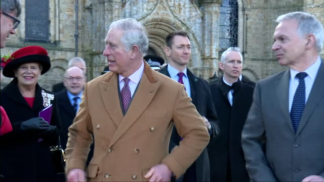 exterior shots of prince charles departing after a visit to durham cathedral>> on february 15 2018 in durham england - イングランド ダラム点の映像素材/bロール