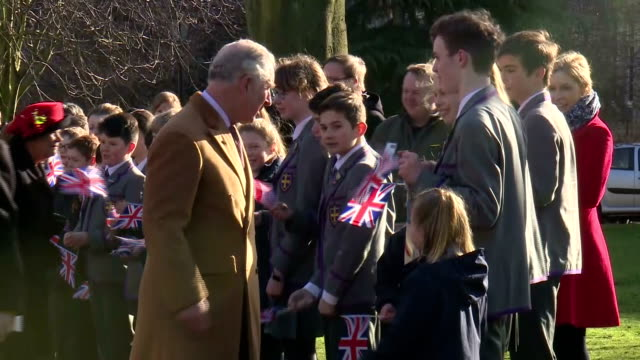 exterior shots of prince charles greeting members of the public including school children and and choristers outside durham cathedral>> on february... - イングランド ダラム点の映像素材/bロール
