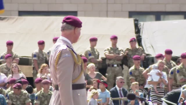 exterior shots of prince charles inspecting troops on parade ground at a ceremony to mark 40 years as colonelinchief of the parachute regiment on 23... - ceremony stock videos and b-roll footage