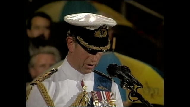 exterior shots of prince charles making a speech at the handover ceremony as britain passes control of hong kong back to china on 30 june 1997 in... - ceremony stock videos & royalty-free footage