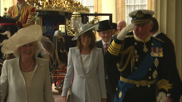 exterior shots of prince charles of wales arriving at westminster abbey for his son's wedding prince charles arrives with his wife camilla duchess of... - feierliche veranstaltung stock-videos und b-roll-filmmaterial