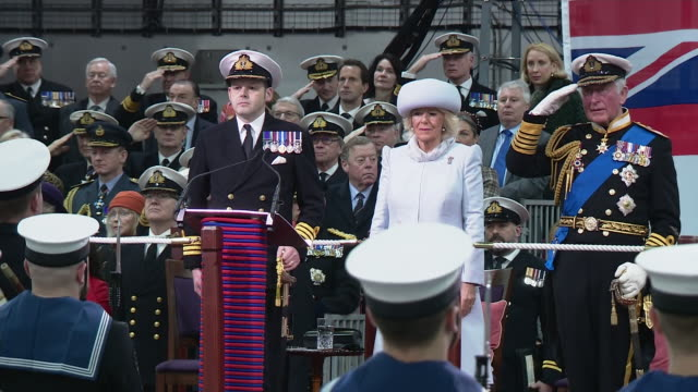 exterior shots of prince charles prince of wales and camilla duchess of cornwall at ceremony at her majesty's naval base portsmouth to formally... - プリンス点の映像素材/bロール