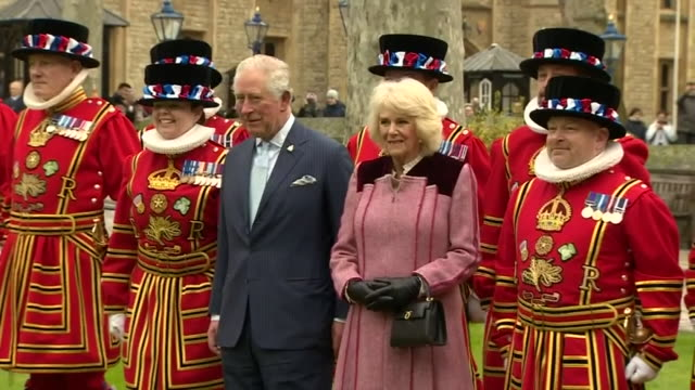 exterior shots of prince charles, prince of wales and camilla, duchess of cornwall visit the tower of london to mark 535 years since the creation of... - コーンウォール公爵夫人 カミラ点の映像素材/bロール