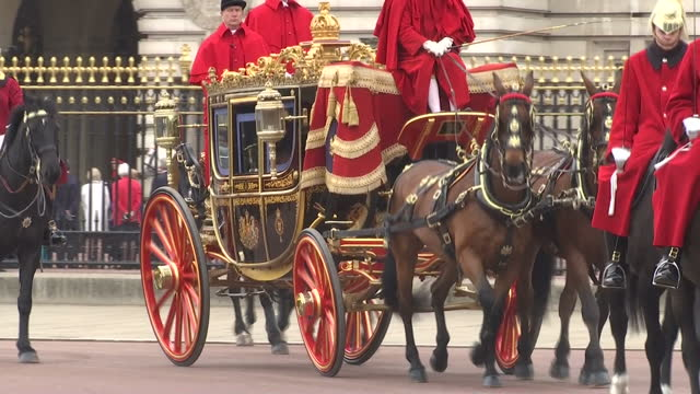 exterior shots of prince charles prince of wales and camilla duchess of cornwall leaving buckingham palace in the irish state coach on their way to... - state opening of uk parliament stock videos & royalty-free footage