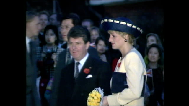 vídeos de stock, filmes e b-roll de exterior shots of prince charles prince of wales and princess diana princess of wales arriving arriving and unveiling plaque outside building during... - 1992