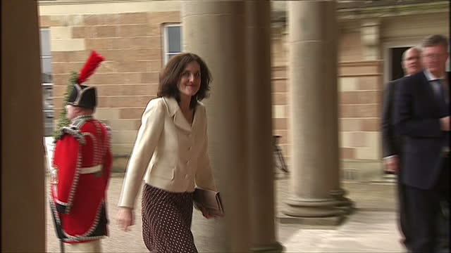 exterior shots of Prince Charles Prince of Wales arriving at Hillsborough Castle followed by Secretary of State for Northern Ireland Theresa Villiers...