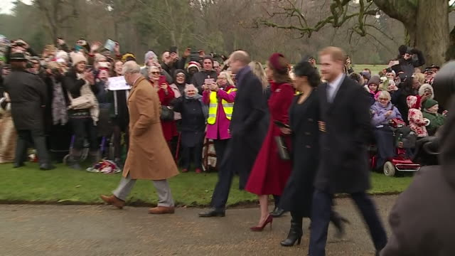 exterior shots of prince charles prince william catherine duchess of cambridge meghan duchess of sussex and prince harry walking into sandringham... - royalty stock videos & royalty-free footage
