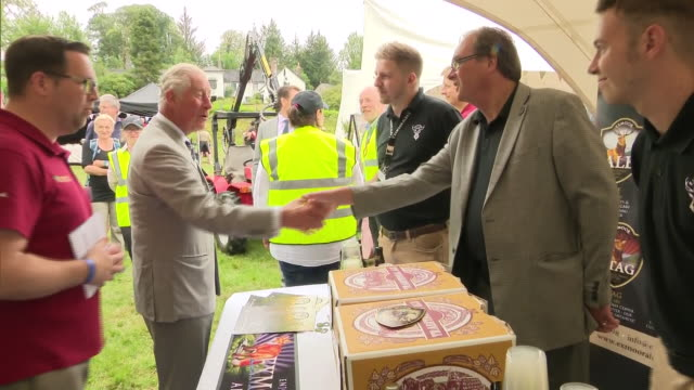 exterior shots of prince charles sampling a real ale from exmoor ales at a farm in exmoor to mark the 70th anniversary of the formation of national... - exmoor national park stock videos & royalty-free footage