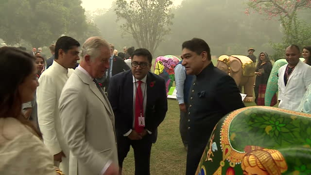 Exterior shots of Prince Charles speaking to guests and looking at painted elephant statues at an Elephant Family charity event at the British High...