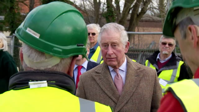 Exterior shots of Prince Charles speaking to volunteers from the Cotswold Canals Trust at an event at Wallbridge Lower Lock to mark the restoration...