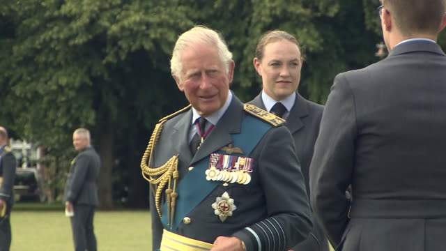 exterior shots of prince charles talking to raf officers at the raf cranwell graduation ceremony on 16 july 2020 in lincolnshire, united kingdom. - lincolnshire stock videos & royalty-free footage