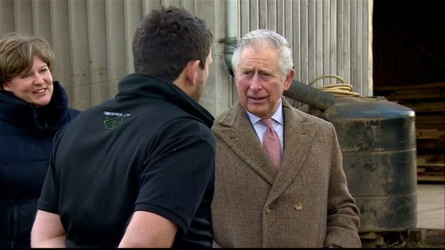 Exterior shots of Prince Charles touring the timber yard at the Timberpride sawmill with cofounders Alec and Victoria Golesworthy >> on February 02...