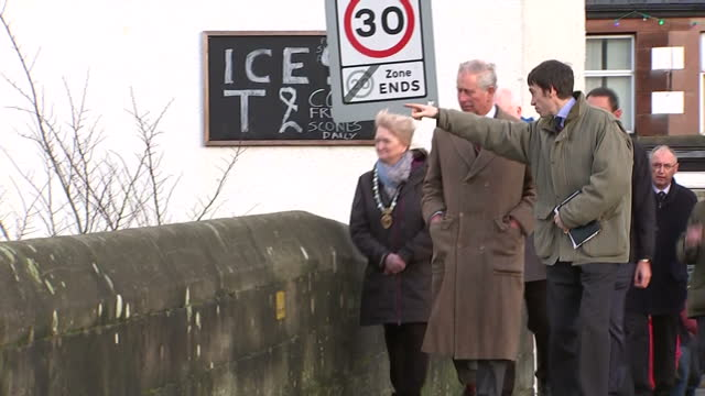 exterior shots of prince charles visiting appleby and speaking to local officials and residents on a bridge over the river eden>> on december 21 2015... - charles bridge stock-videos und b-roll-filmmaterial