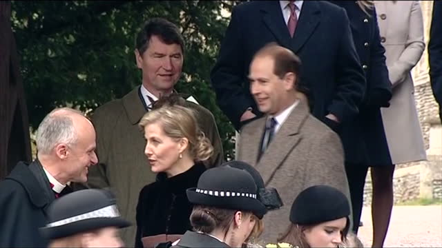 Exterior shots of Prince Edward and Sophie Earl and Countess of Wessex standing on steps of church on Christmas Day with Vice Admiral Timothy...