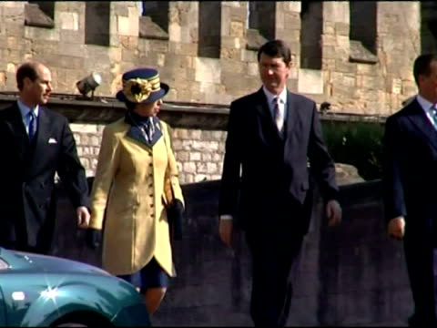 exterior shots of Prince Edward and wife Sophie RhysJones Countess of Wessex arrive for Easter service at Windsor Castle