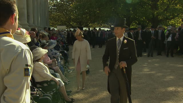 exterior shots of Prince Edward Earl of Wessex and Sophie Countess of Wessex meeting elderly and disabled guests at Royal Garden Party at Buckingham...