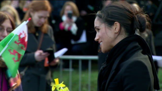 vidéos et rushes de exterior shots of prince harry and his fiancee meghan markle greeting members of the public outside cardiff castle>> on january 18 2018 in cardiff... - monarchie anglaise