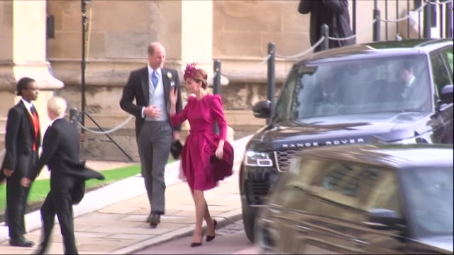 Exterior shots of Prince Harry and Meghan Duchess of Sussex arriving at the wedding of Jack Brooksbank and Princess Eugenie followed by Prince...