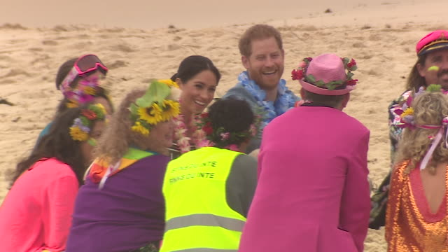 exterior shots of prince harry and meghan duchess of sussex joining surfing group onewave in a circle discussion about mental health issues and... - mental wellbeing stock videos & royalty-free footage