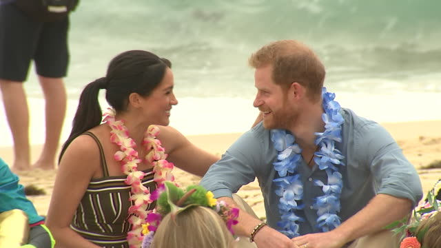 exterior shots of prince harry and meghan duchess of sussex joining surfing group onewave in a circle discussion about mental health issues and... - meghan duchess of sussex stock videos & royalty-free footage
