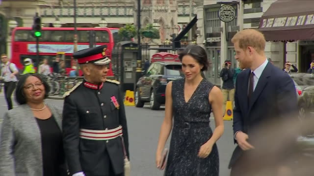 Exterior shots of Prince Harry and Meghan Markle arriving for memorial service marking the 25year anniversary of the murder of Stephen Lawrence at St...